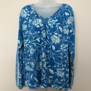 Lucky Brand Long-Sleeve Blue Floral Top - XL